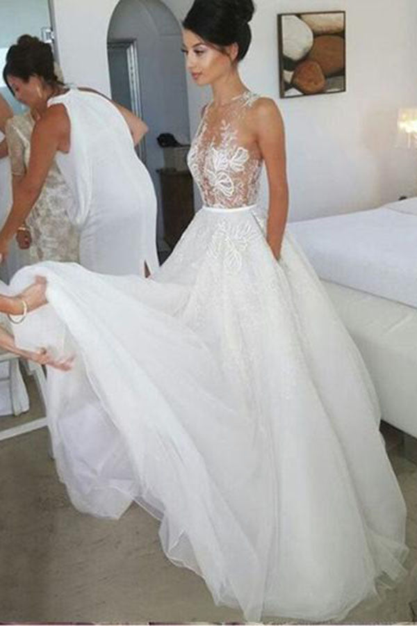 Chic Sleeveless A Line Tulle Lace Wedding Dress Floor Length With