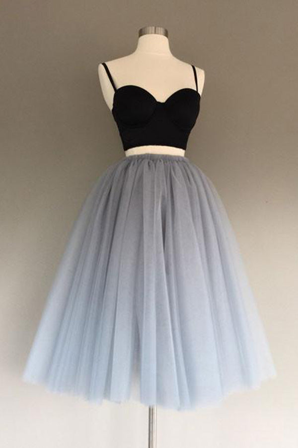 Two Piece Sweetheart Spaghetti Homecoming Dress,Gray Layers Tulle Short Prom Dress