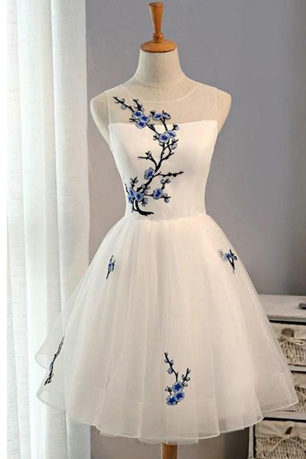 White Sheer Sleeveless Homecoming Dress,Floral Short Prom Dress