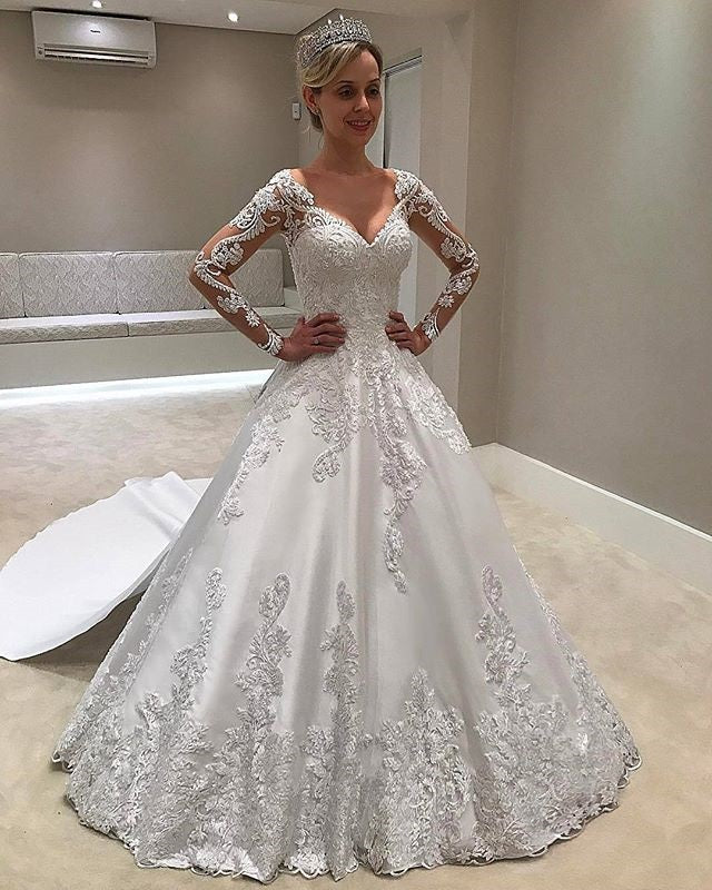 Elegant Long Sleeves Sweetheart Ball Gown Lace Wedding Dress W529