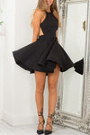 Black Halter Sleeveless Homecoming Dress,Backless Short Prom Dress
