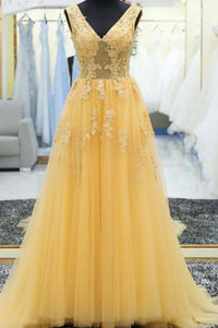 A-line V-neck Tulle Long Prom Dresses, Yellow Appliques Evening Dress D455