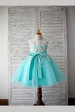 Green A Line Floor Length Sleeveless Bowknot Appliques Flower Girl Dresses,Baby Dress