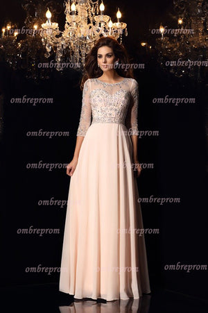 b3a440af54df1 Peach A Line Floor Length Sheer Neck 3/4 Sleeve Beading Chiffon Prom Dress,