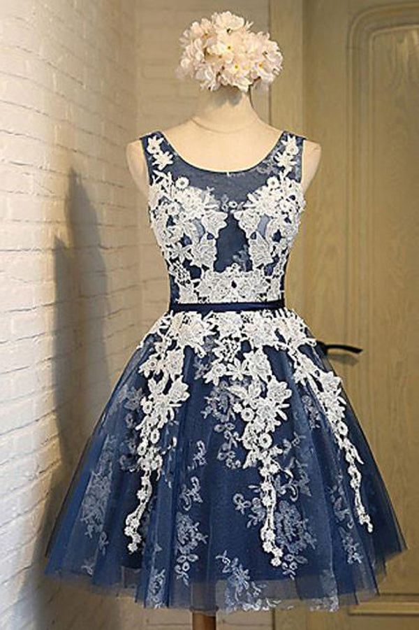 Light Blue Homecoming Dress,Tulle Lace Applique Short Prom Dresses with Straps HCD25