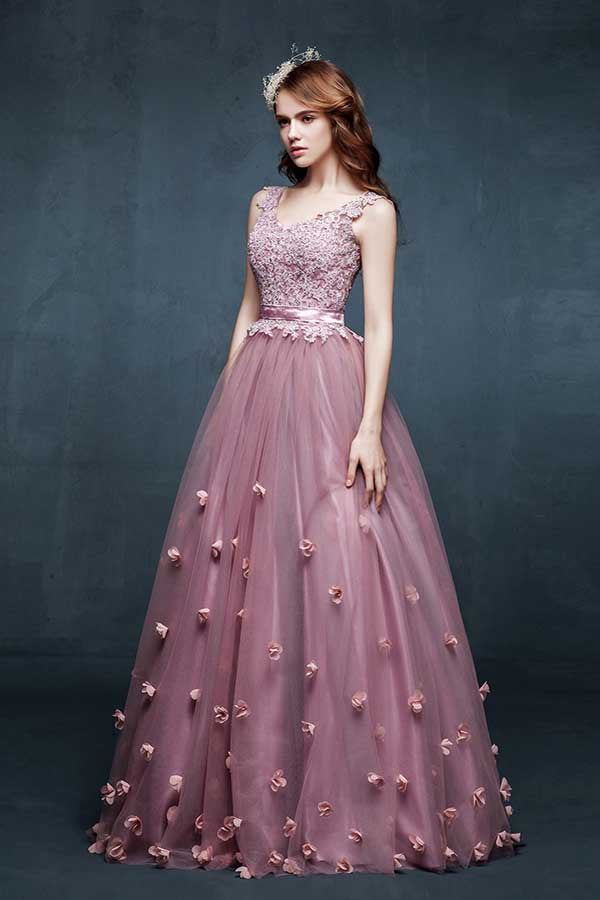 A Line Floor Length Scoop Neck Sleeveless Lace Up Appliques Beading Prom Dress,Evening Dress P92 - Ombreprom
