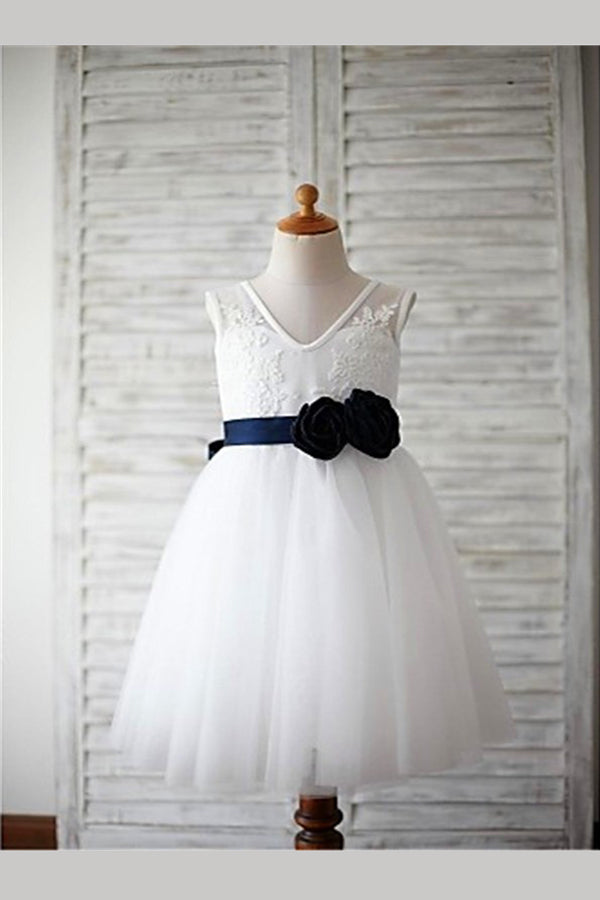 White A Line Floor Length V Neck Sleeveless Floral Flower Girl Dresses,Baby Dress