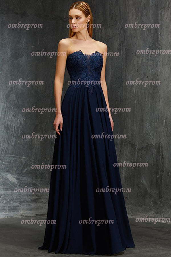 Navy Blue A Line Floor Length Sleeveless Mid Back Appliques Prom Dress,Bridesmaid Dress