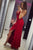 Simple Red Spaghetti Straps Ruffles With Split Long Prom Dress P723