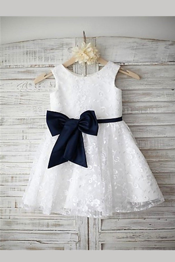 White A Line Floor Length Jewel Neck Sleeveless Bowknet Flower Girl Dresses,Baby Dress
