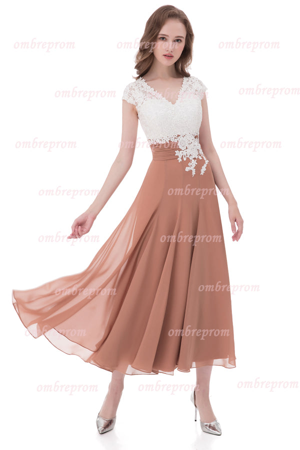 White Lace A Line Ankle Length V Neck Capped Sleeve Chiffon Prom Dress,Formal Dress