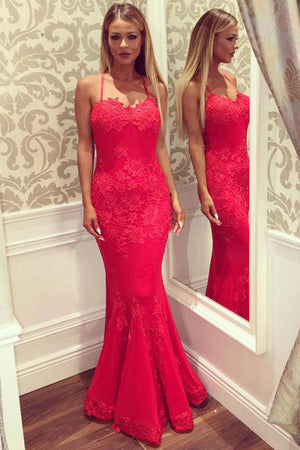 Red Trumpet Floor Length Spaghetti Sleeveless Backless Appliques Long Prom Dress,Party Dress