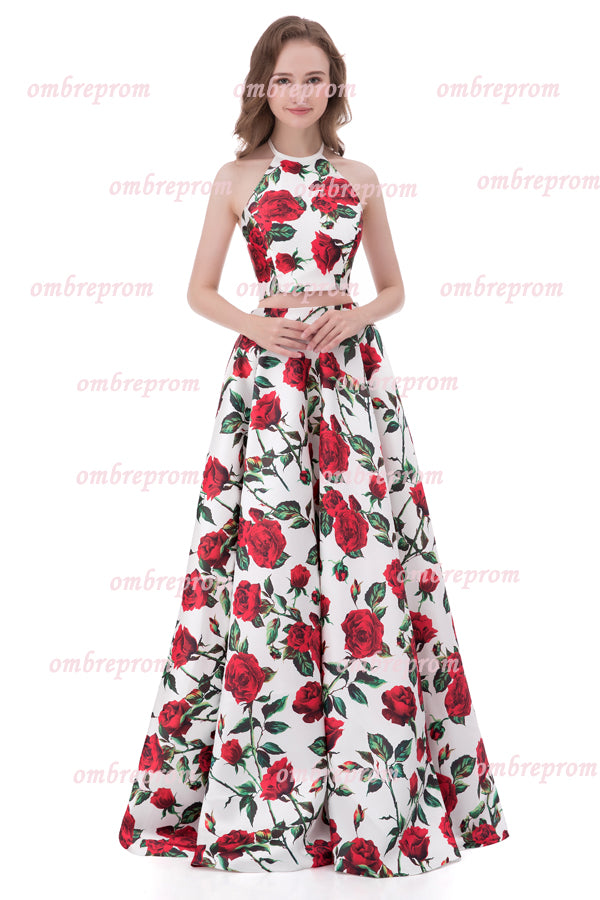 Two Piece A Line Floor Length Halter Sleeveless Floral Prom Dress,Formal Dress