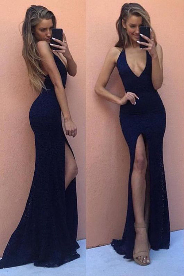 Navy Blue Sheath Deep V Neck Sleeveless Backless Lace Side Slit Prom Dress,Party Dress