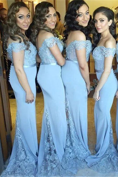 Blue Sheath Sweep Train Off Shoulder Open Back Appliques Cheap Bridesmaid Dress B244 - Ombreprom