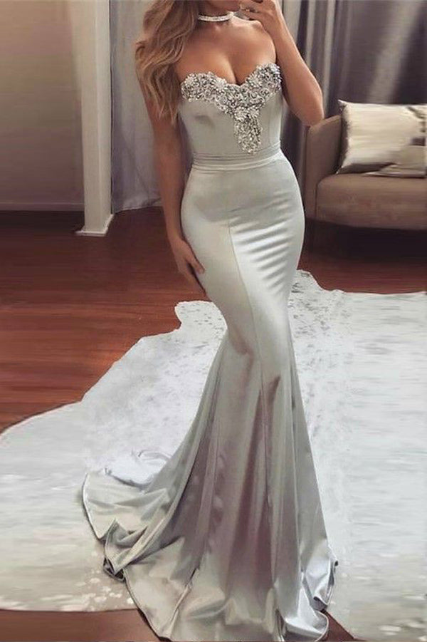 Sliver Mermaid/Trumpet Sweep Train Sweetheart Strapless Mid Back Beading Evening/Prom Dress