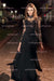Black A Line Floor Length Jewel Neck Long Sleeve Sheer Back Lace Prom Dress,Formal Dress P280