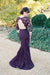 Purple Trumpet Sweep Train Jewel Neck 3/4 Sleeve Keyhole Back Appliques Cheap Bridesmaid Dress B295