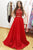 Red A Line Brush Train Capped Sleeve Lace Prom Dress,Party Dress