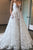 White A Line Court Train Deep V Neck Sleeveless Backless Lace Prom Dress,Weeding Dress