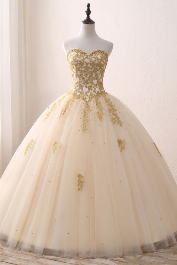 Ivory Ball Gown Sweetheart Strapless Sleeveless Appliques Beading Prom Dress,Evening Dress