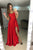 Red A Line Brush Train Scoop Neck Sleeveless Side Slit Prom Dress,Party Dress