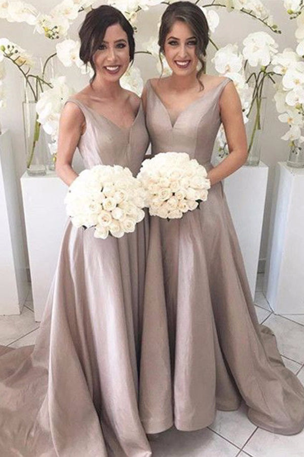 A Line Sweep Train Deep V Neck Sleeveless Cheap Bridesmaid Dress B263 - Ombreprom