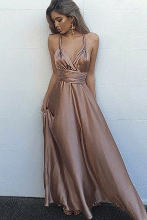 4072bef62a1 Pastel Pink A Line Floor Length Deep V Neck Sleeveless Backless Prom Dress