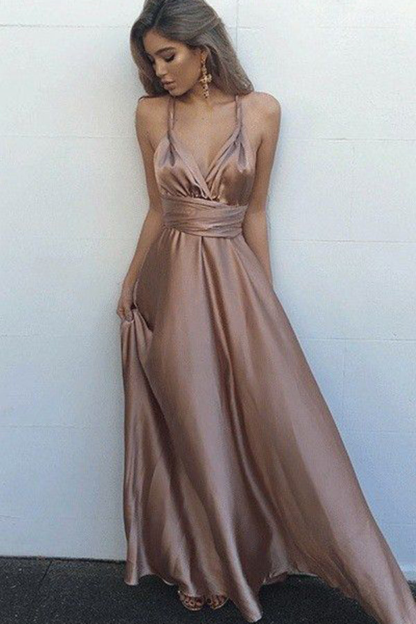 Pastel Pink A Line Floor Length Deep V Neck Sleeveless Backless Prom Dress,Formal Dress