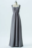 Storm Grey A Line Floor Length Sweetheart Sleeveless Keyhole Back Cheap Bridesmaid Dresses