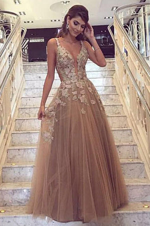 6b1f41e15a2477 A Line Floor Length Deep V Neck Sleeveless Appliques Layers Tulle Prom Dress
