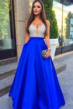 Royal Blue A Line Floor Length Deep V Neck Backless Beading Prom Dress,Party Dress