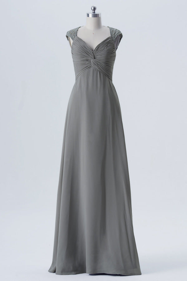 Steel Grey A Line Floor Length Sweetheart Capped Sleeve Lace Appliques Cheap Bridesmaid Dresses