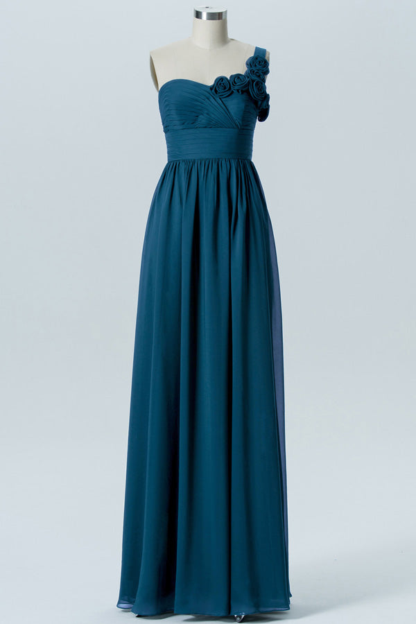 Winter Teal A Line Floor Length Sweetheart One Shoulder Mid Back Cheap Bridesmaid Dresses