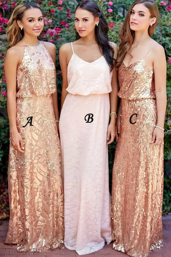 Golden A Line Floor Length Sleeveless Sparkle Bridesmaid Dress, Wedding Party Dress B313