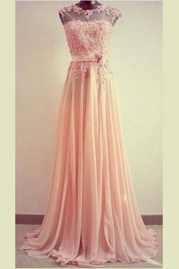 Pink A Line Sweep Train Sheer Neck Sleeveless Appliques Prom Dress,Bridemaid Dress