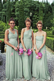 Mint Green A Line Floor Length Sleeveless Chiffon Bridesmaid Dress, Wedding Party Dress