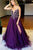 Purple A Line Floor Length Sleeveless Side Slit Beading Chiffon Prom Dress,Party Dress