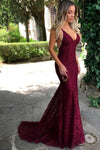 Burgundy Trumpet Court Train Deep V Neck Sleeveless Backless Lace Prom Dress,Formal Dress P272 - Ombreprom