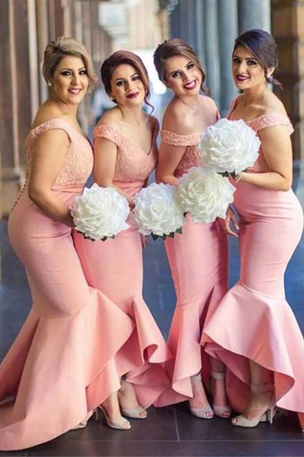 Pink Asymmetrical Sweep Train V Neck Mid Back Cheap Bridesmaid Dress B296
