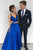 Royal Blue Two Piece A Line Floor Length Sweetheart Sleeveless Mid Back Prom Dress,Party Dress