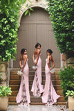 Mermaid Court Train Sweetheart Spaghetti Sleeveless Open Back Appliques Cheap Bridesmaid Dress