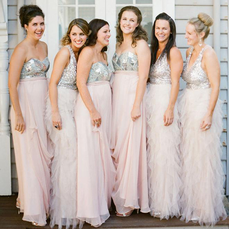 Shinning Sweetheart Sleeveless Floor Length With Beading Bridesmaid Dress B448