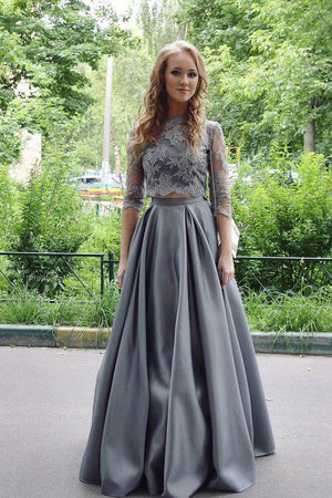 Gray Two Piece A Line Floor Length 3/4 Sleeve Lace Cheap Prom Dress,Evening Dress P245