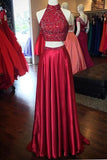 Red A Line Two Piece Floor Length Halter Side Slit Beading Long Prom Dress,Party Dress P221 - Ombreprom