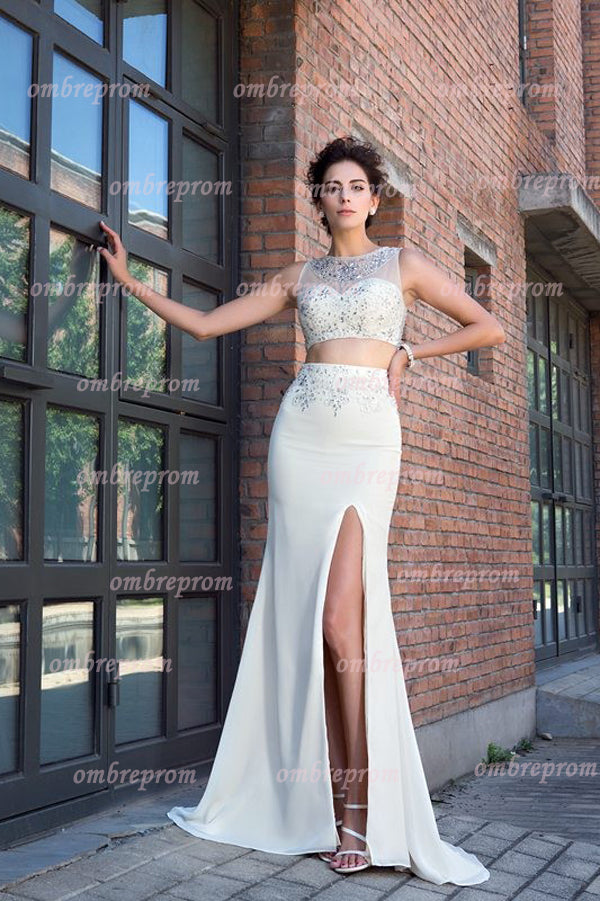 White Two Piece Sheath Crystal Sleeveless Long Chiffon Prom Dress,Party Dress P376 - Ombreprom