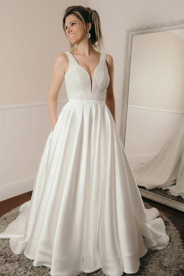 White A Line Court Train Sweetheart Sleeveless Satin Beading Wedding Dress,Beach Wedding Dress