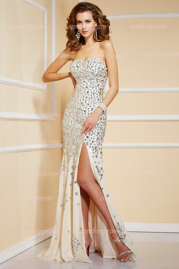 Trumpet Sweep Train Sweetheart Sleeveless Beading Side Slit Cheap Prom Dress,Evening Dress