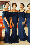 Navy Blue Sheath Brush Train Off Shoulder Appliques Bridesmaid Dress, Wedding Party Dress