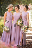 A Line Floor Length Sleeveless Side Slit Simple Cheap Bridesmaid Dresses B210 - Ombreprom